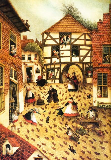 Baśnie braci Grimm, szczurołap, Szczurołap z hameln, Baśnie na warsztacie, mroczne baśnie, Mateusz Świstak, plaga szczurów, opis dżumy, czarna śmierć w baśniach