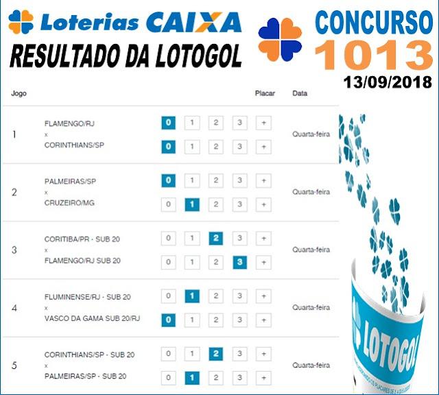 Resultado da Lotogol concurso 1013 de 13/09/2018 (Imagem: Informe Notícias)