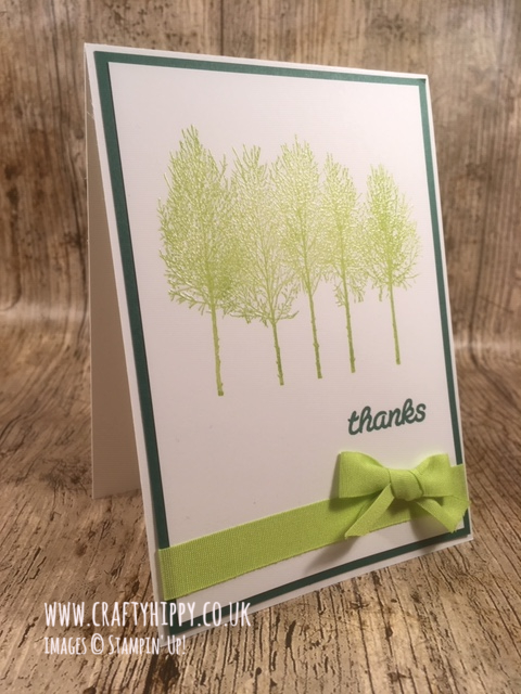 Handmade forest card created with the Winter Woods stamp set and the Stamparatus by Stampin' Up!