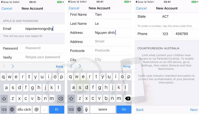 Tạo tài khoản Apple ID Australia