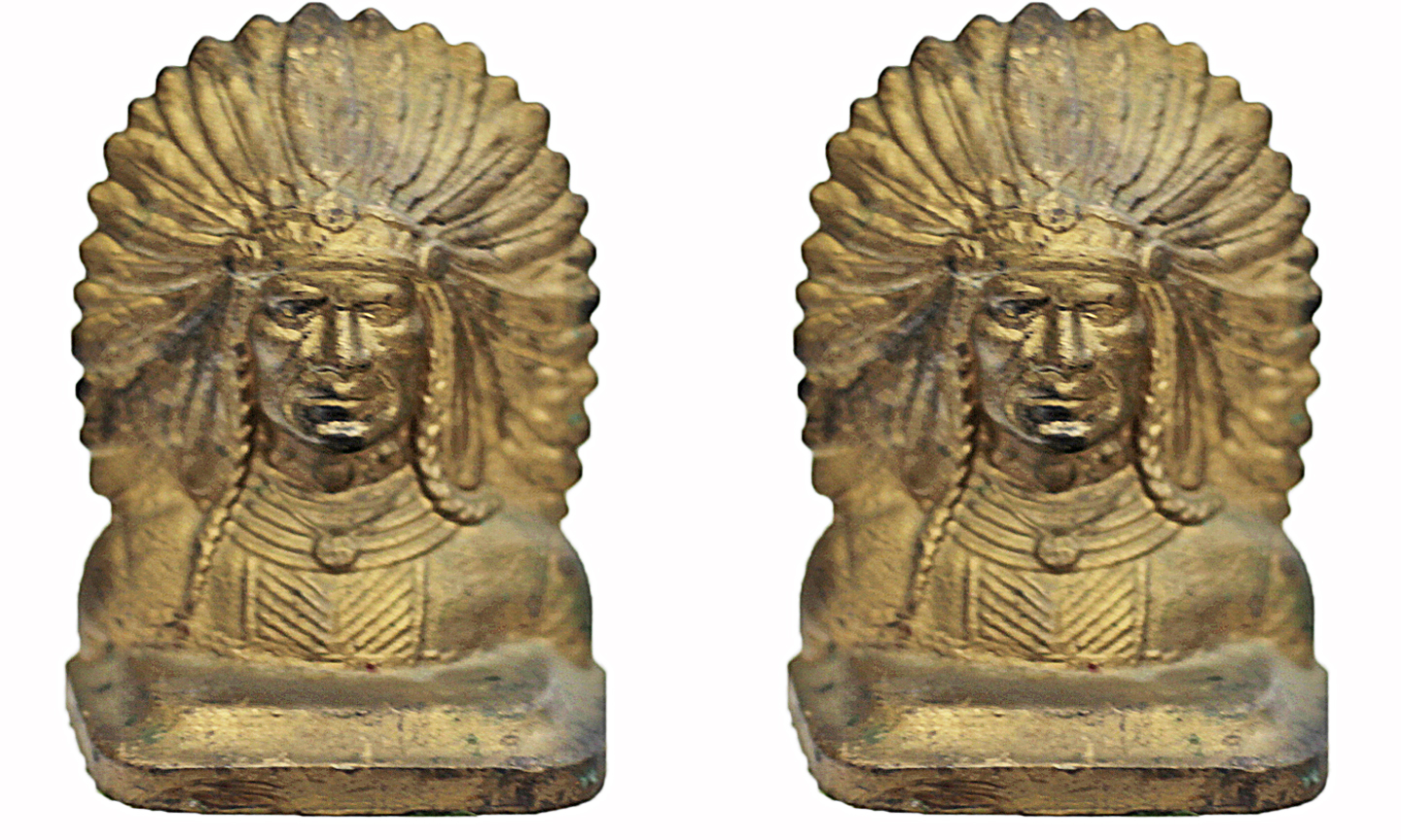 Vintage Cast Iron Indian Bookends