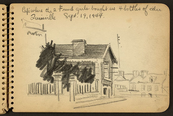 21-Year-Old WWII Soldier's Sketchbooks Show War Through The Eyes Of An Architect - Café Where The 2 French Girls Bought Us 4 Bottles Of Cider, Quinéville