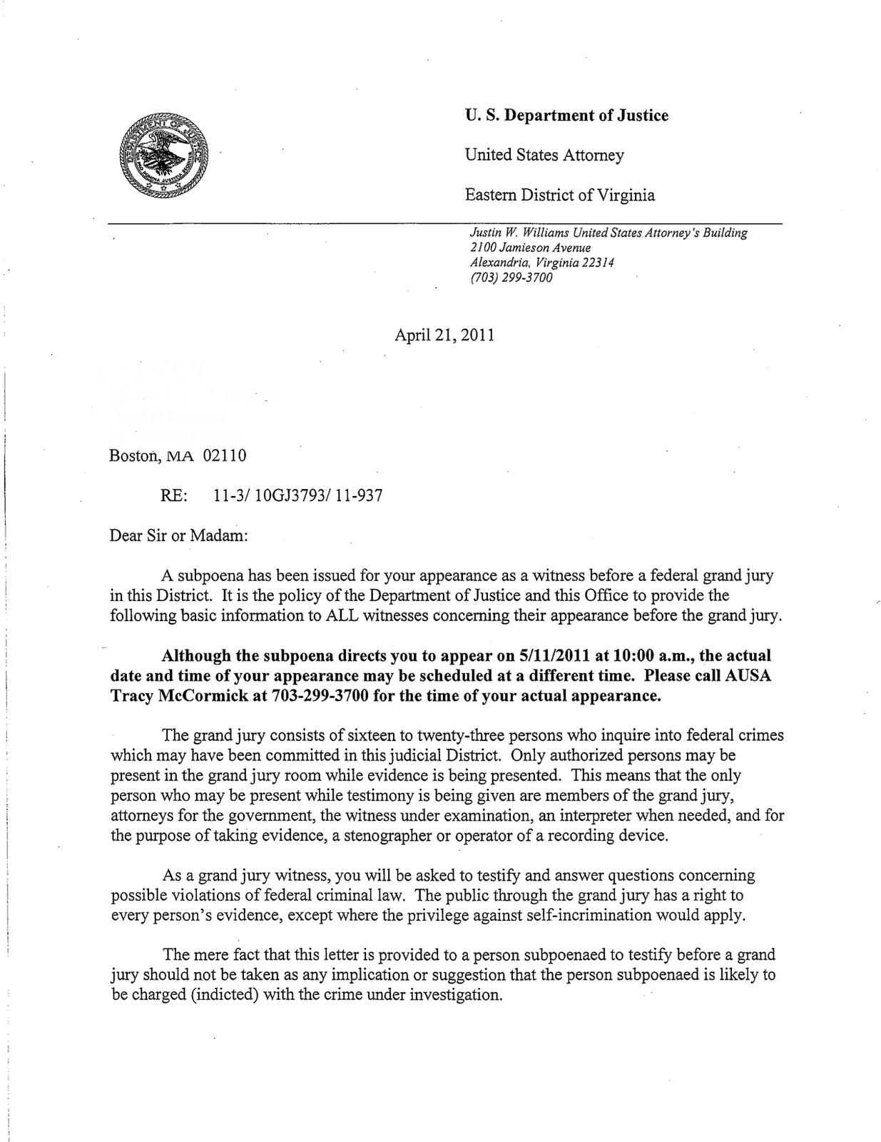 Fbi Serves Grand Jury Subpoena Likely Relating To Wikileaks