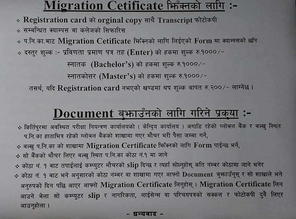 Process of Obtaining Tribhuvan University Migration Certificate for Intermediate, Bachelors and Masters Level with a list of required documents and fees