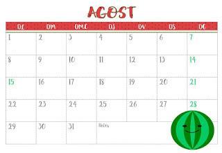 Calendari agost horitzontal