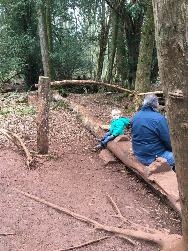 toddler and adult sat on fallen branch that is carved to look like a crocodile
