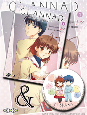 Clannad tome 1 et badge.