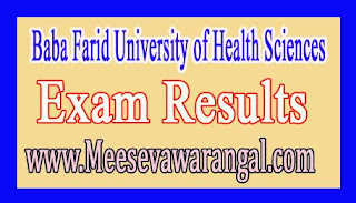 BBaba Farid University of Health Sciences M.Pharmacy Ist Year May 2016 Exam Results