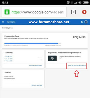 setting metode transfer kawat google adsense ke rekening bank indonesia