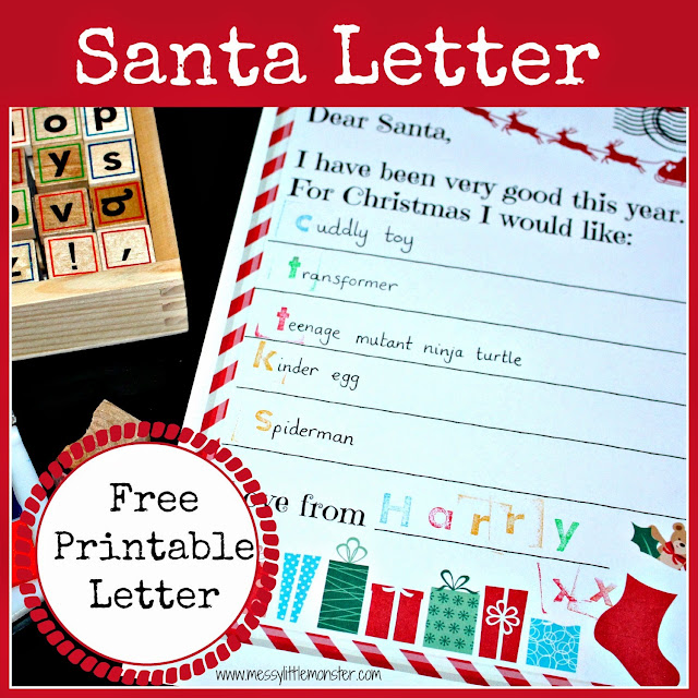 free printable santa letter - Christmas advent countdown.  Fun Christmas craft and activity ideas for every day of advent. Perfect ideas for toddlers, preschoolers and older kids.