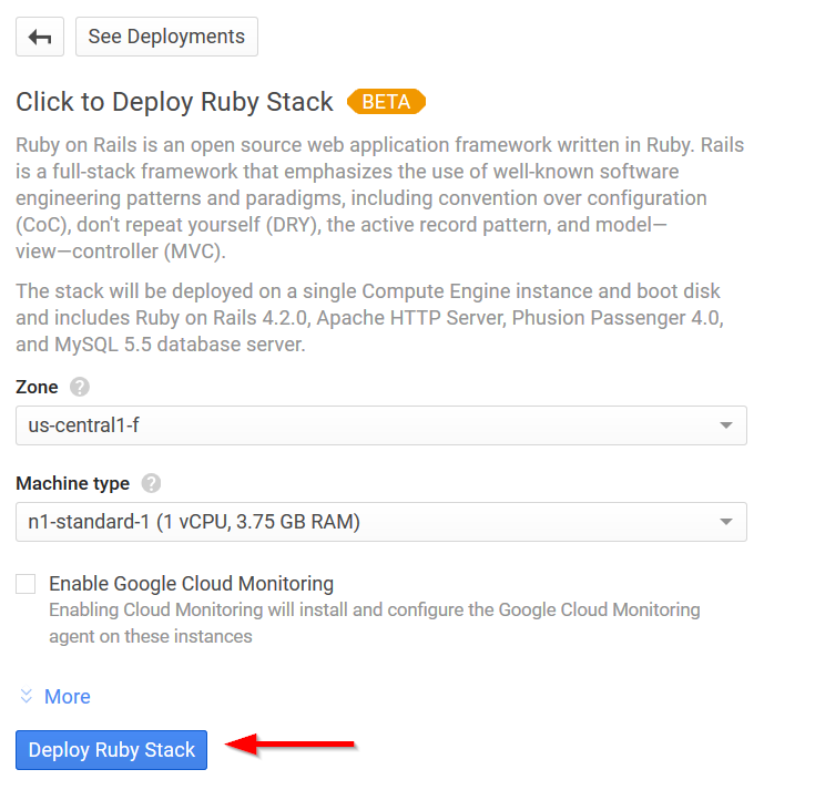 Google Cloud Platform: How to deploy Ruby on Rails application on