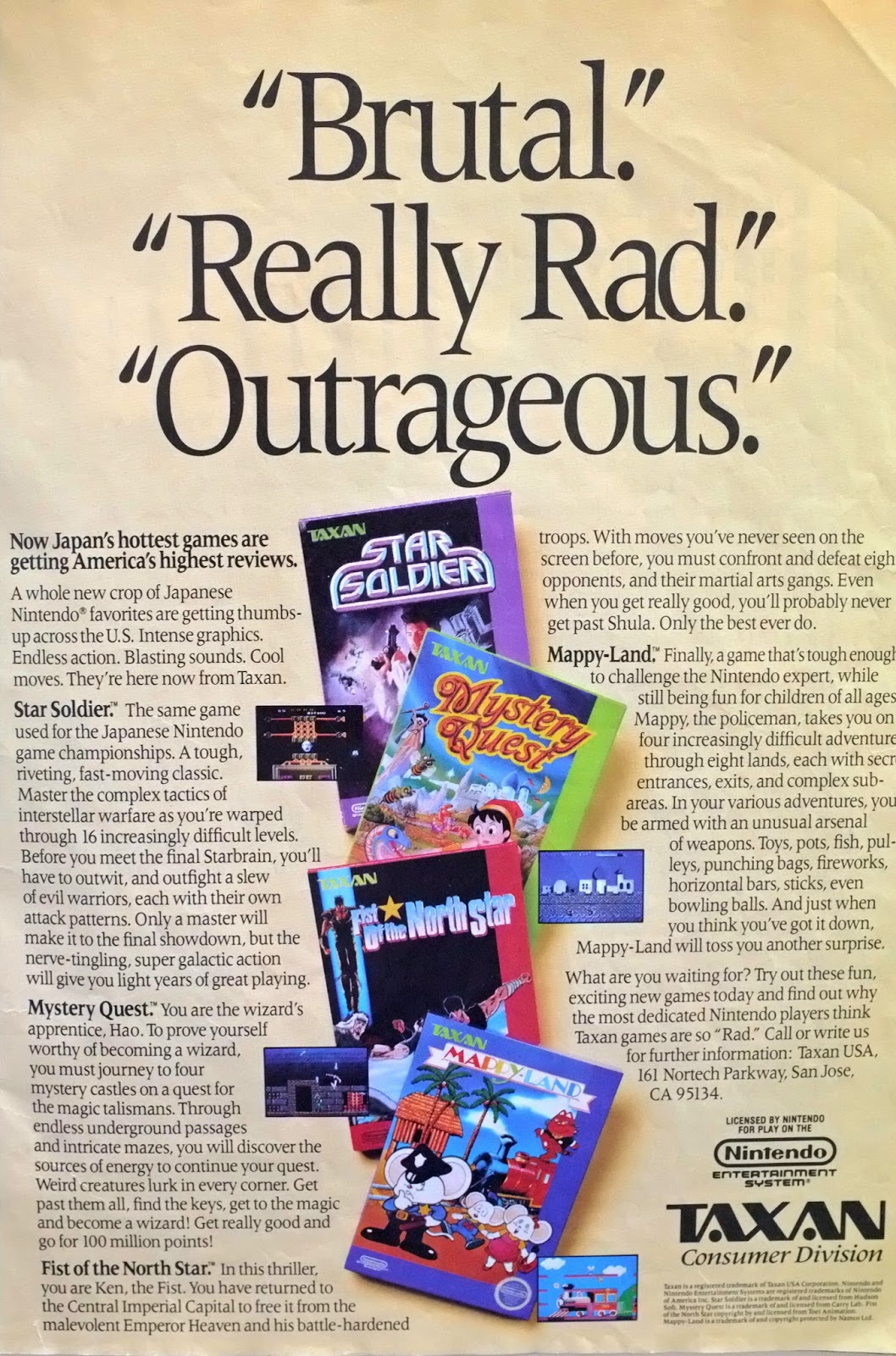 Taxan games for NES advertisement