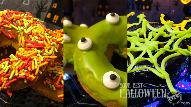 Halloween donuts, pumpkin spice, monster cake, chocolate spiderweb, blueberry lemon, green slime frosting