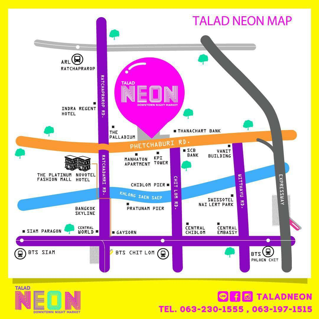 Map to Talad Neon Night Market