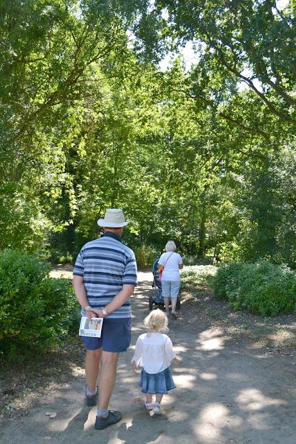 Tin Box Grandpa, Tot and Grandma walking down a woodland path