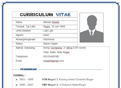 Contoh CV Daftar Riwayat Hidup yang Profesional, Keren dan Kreative