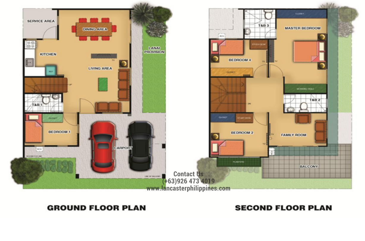 Floor Plan of Briana - Lancaster New City Cavite | House and Lot for Sale Imus-General Trias Cavite