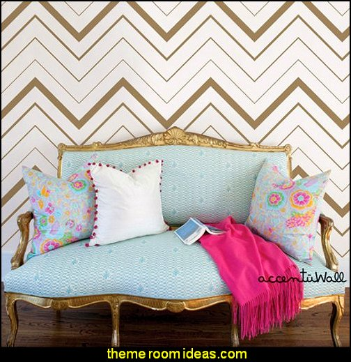 Chevron Bold Gold Peel & Stick Fabric Wallpaper