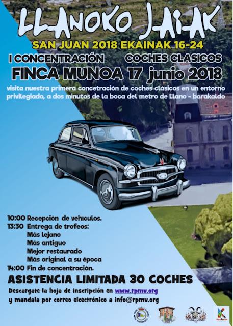 Cartel de la concentración de coches clásicos en las fiestas de Llano