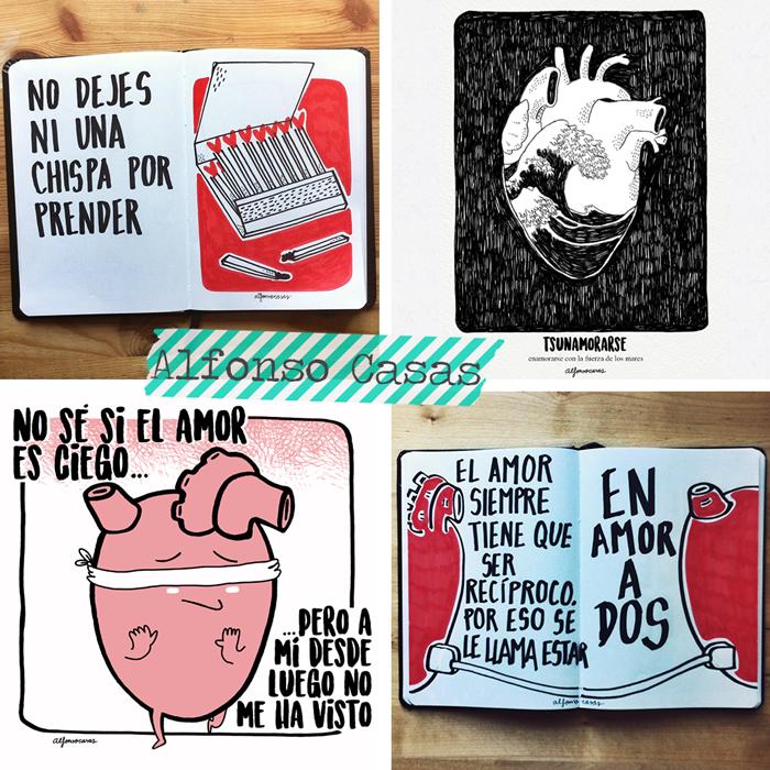 Spanish artist and illustrator Alfonso Casas, love, friendship, relationships, comics