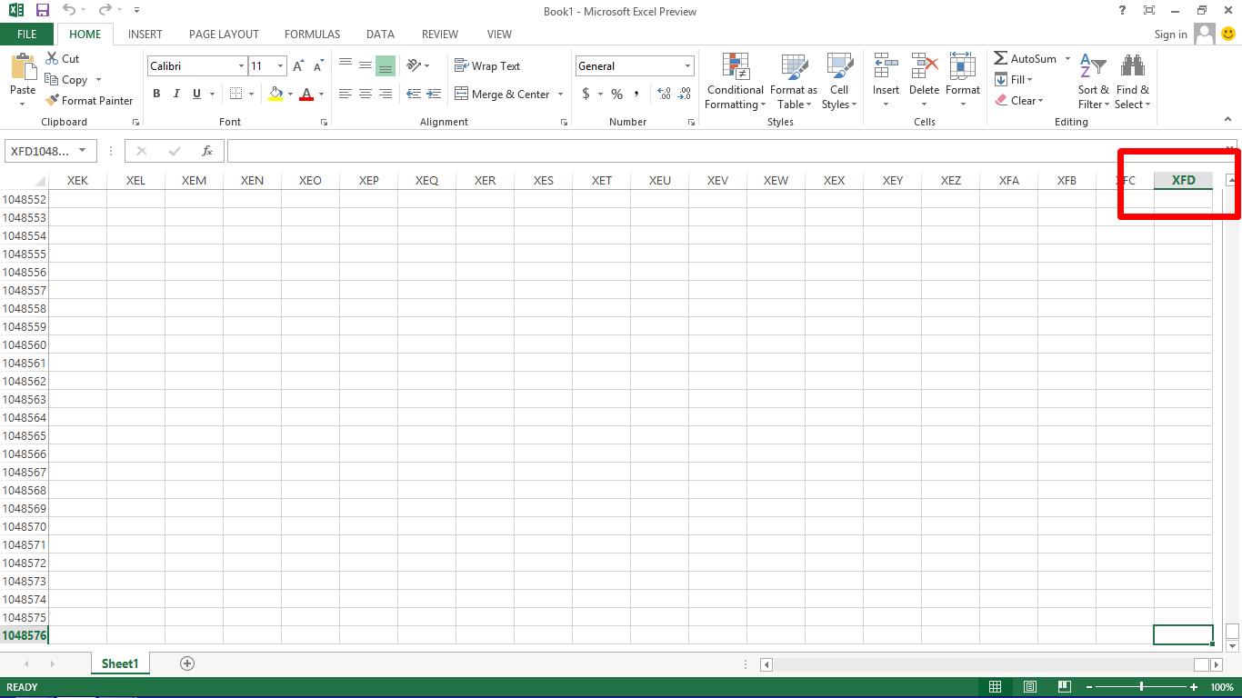Jumlah Baris Dan Kolom Pada Semua Versi Microsoft Excel