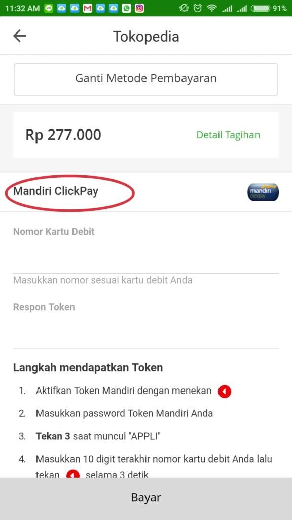 pembayaran Tokopedia Mandiri Clickpay