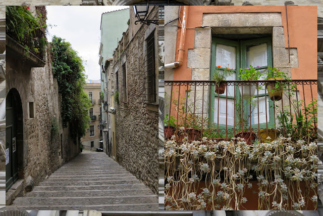 Atmospheric lanes, staircases, and balconies in Girona, Costa Brava, Spain