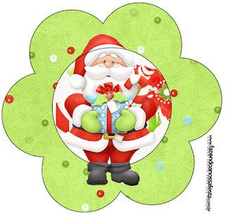 Tarjeta con forma de flor de Santa en Fondo Verde.
