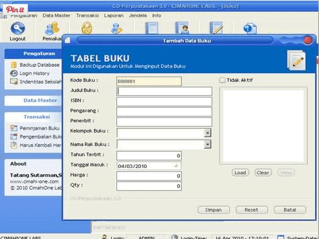 Master Aplikasi Perpustakaan Versi 3.0 SD,SMP,SMA