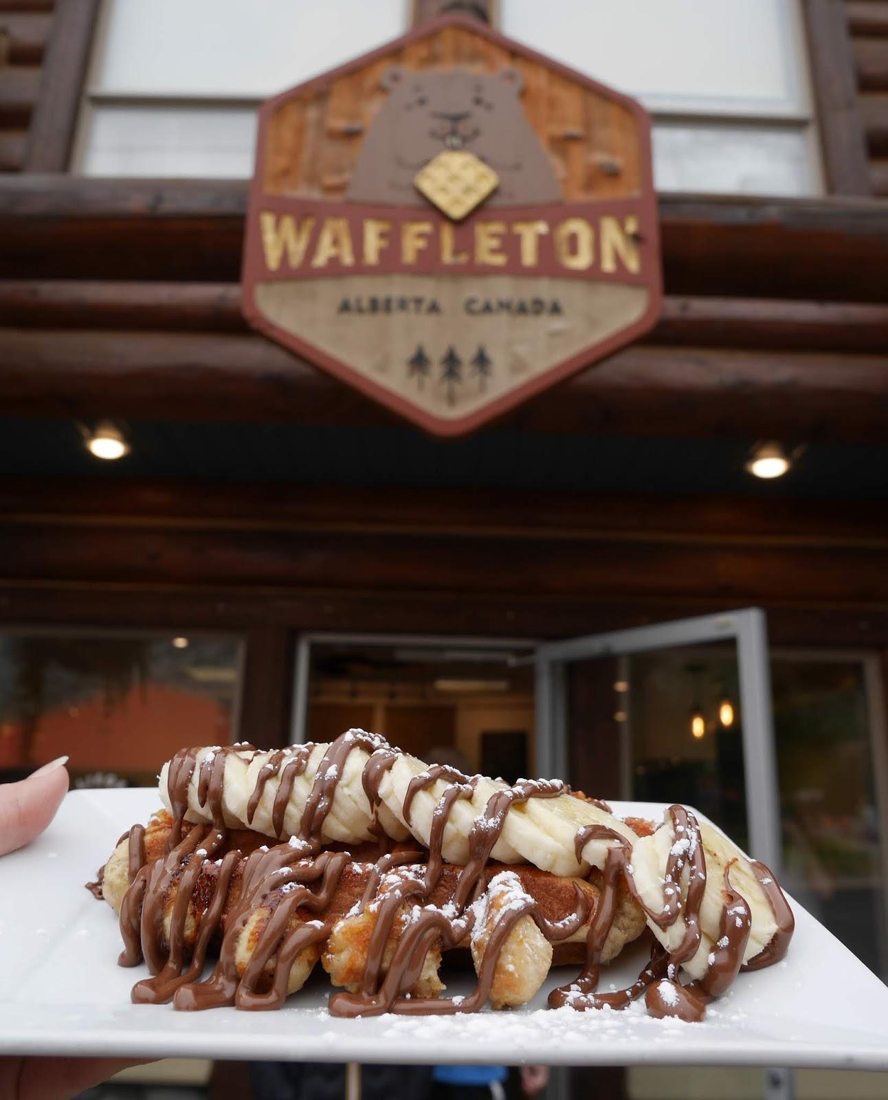 Waffles for breakfast at Waffleton in Waterton Lakes National Park, Alberta