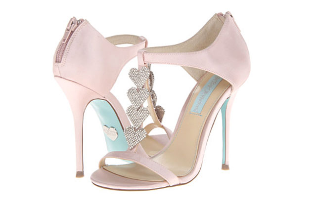 Light Pink Wedding Shoes Blue Sole