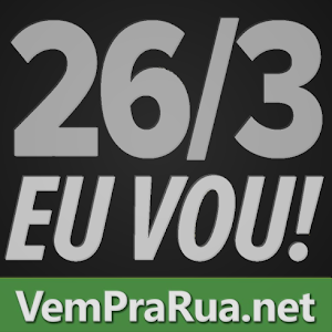 Vem pra rua Brasil 26 de março foto cor preta cinza