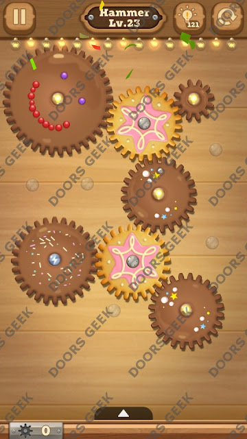 Fix it: Gear Puzzle [Hammer] Level 23 Solution, Cheats, Walkthrough for Android, iPhone, iPad and iPod
