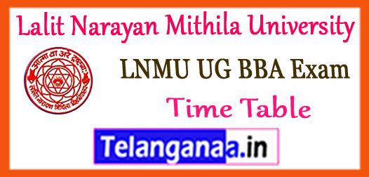 LNMU Lalit Narayan Mithila University BBA (H) Part 1st 2nd 3rd Time Table 2018