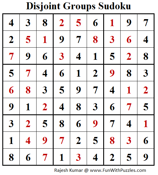 Disjoint Groups Sudoku (Fun With Sudoku #172) Solution