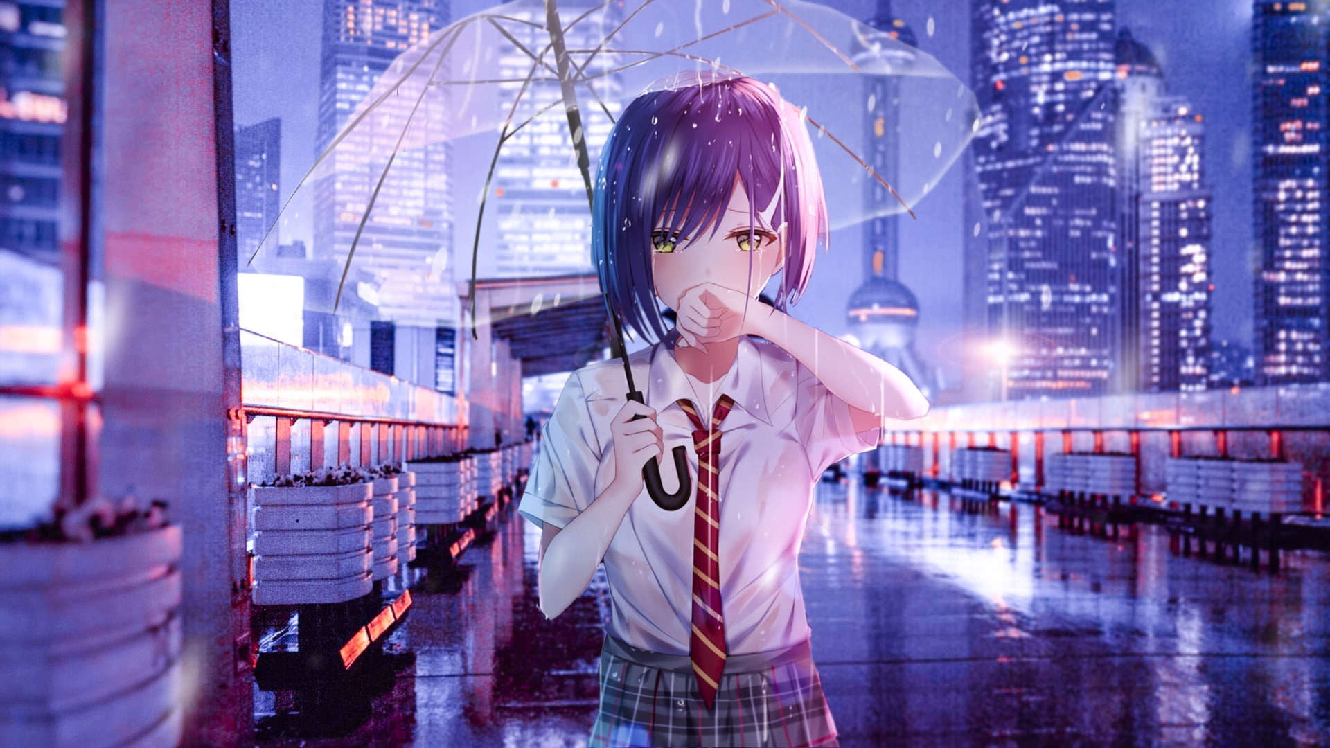 Desktop Wallpaper Anime School Girl Lucu
