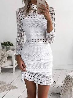 opis sukienki szydełkowej
