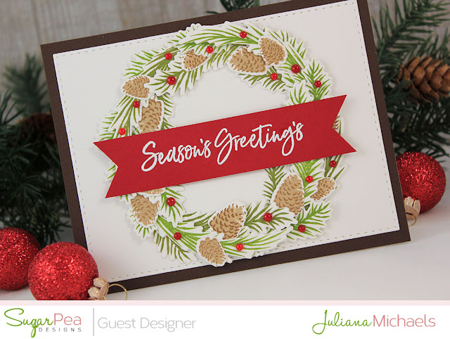 Detail image - Season's Greeting's Christmas Card by Juliana Michaels featuring Pine Cone Greetings by Sugar Pea Designs
