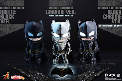 Batman v Superman: Dawn of Justice Special Color Edition Armored Batman Cosbaby Vinyl Figures by Hot Toys - Black Chrome, Chrome & Matte Black