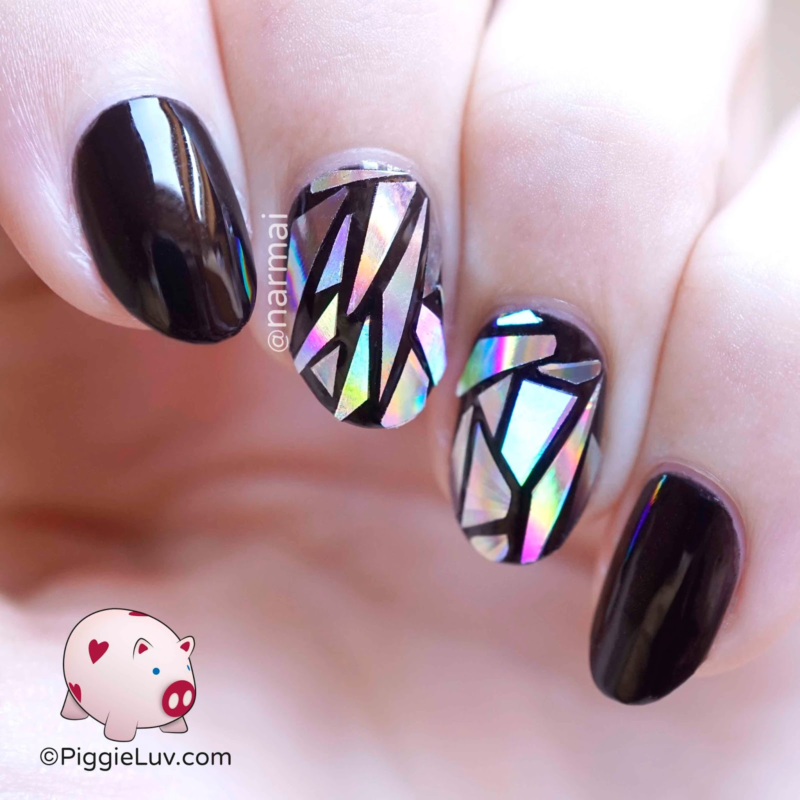 Piggieluv broken mirror nail art oh my goooosh i am so in love the lines are super straight the holo is amazing and it stands out so well with the black its easy to make i promise prinsesfo Choice Image