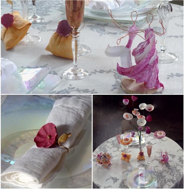 Nozze Eco chic 2018.  Segnaposto con fiori di carta dipinti a mano, cake topper in carta crespa