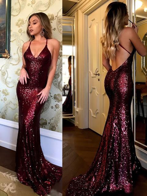 Trumpet/Mermaid V-neck Sequined Sweep Train Prom Dresses