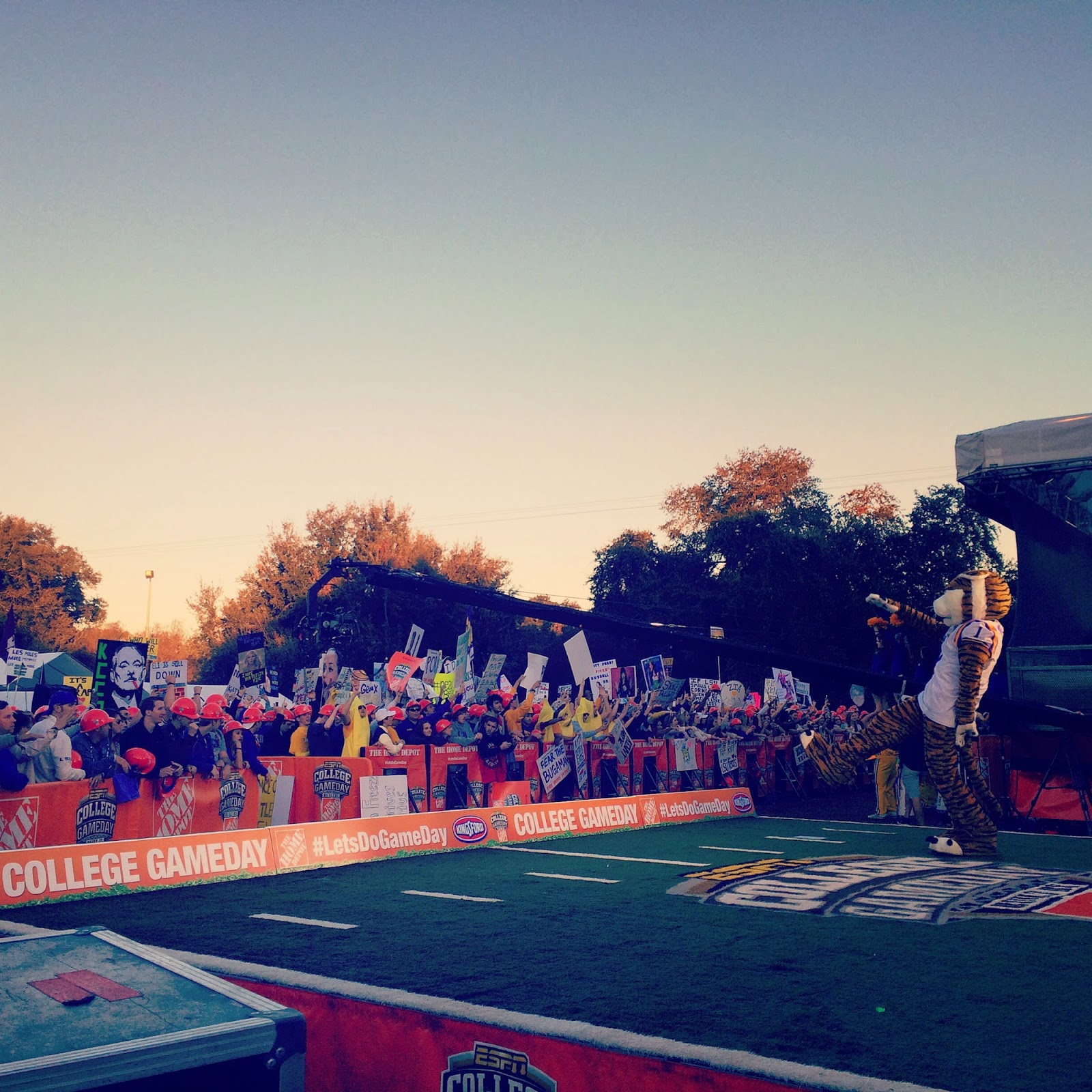 Mike getting the crowd fired up bright and early  on the Home Depot College GameDay set.