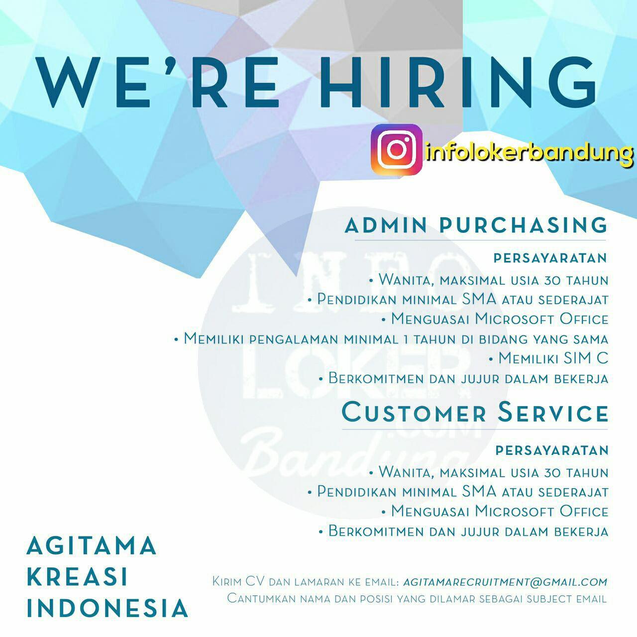 Lowongan Kerja CV. Agitama Kreasi Indonesia September 2017