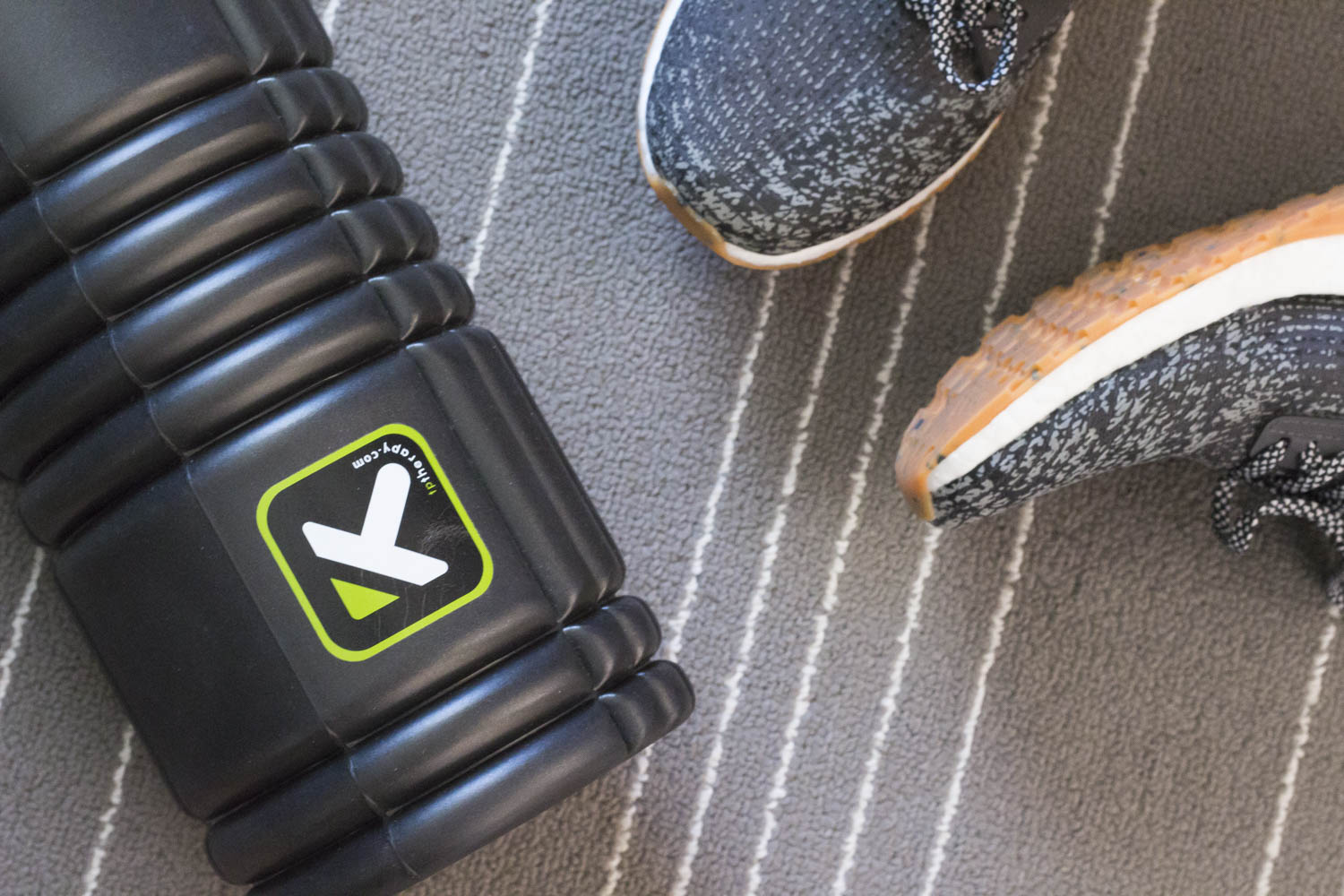 foam roller and sneakers