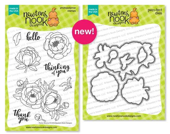 Peony Blooms Stamp Set and Die Set by Newton's Nook Designs #newtonsnook