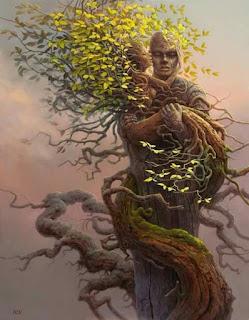 Δύο αγκαλιασμένα δέντρα με ανθρώπινη μορφή (σουρεαλισμός).