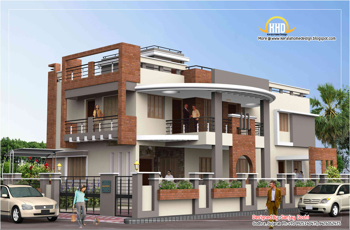 Duplex house plan and elevation 4217 sq ft kerala for Front view of duplex house in india