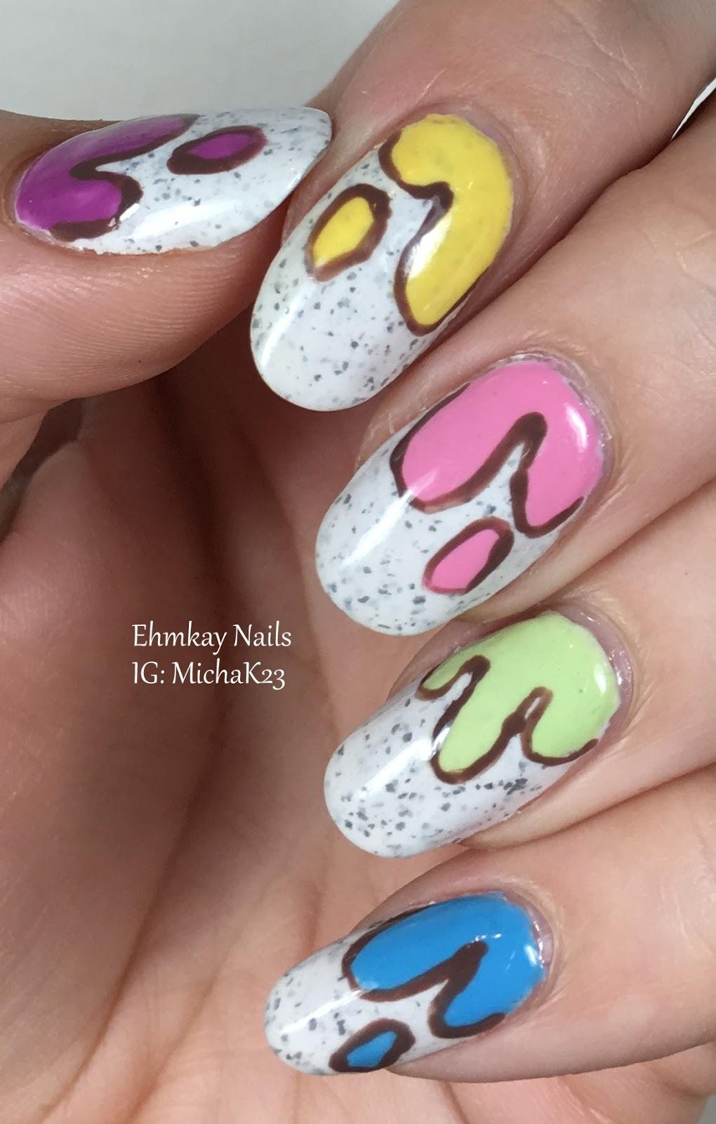 Ehmkay Nails Ice Cream Drip Nail Art With Paint Box Polish Ciao
