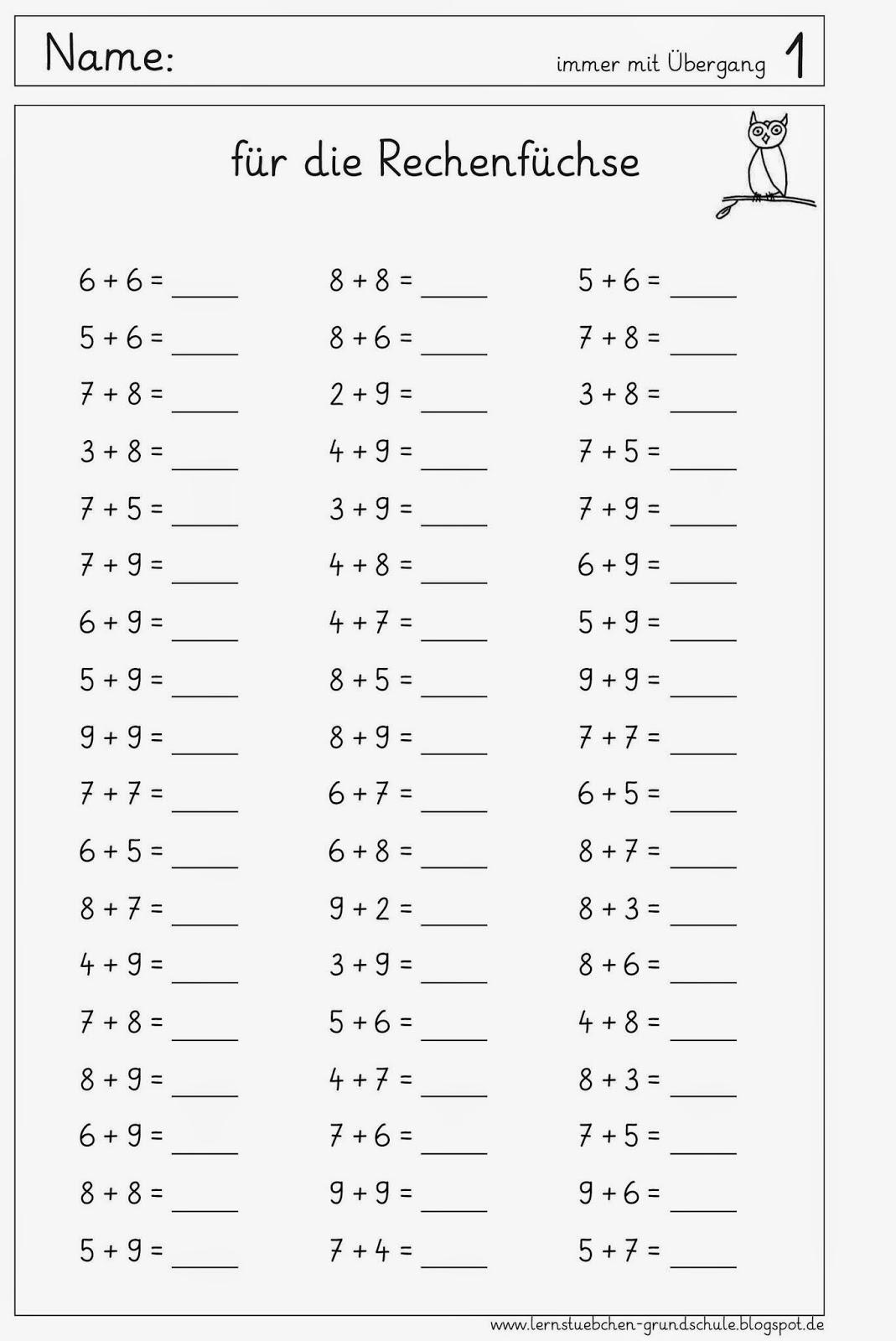 Lernstubchen Letzten Arbeitsblatter Zum Kopfrechnen Zr 20